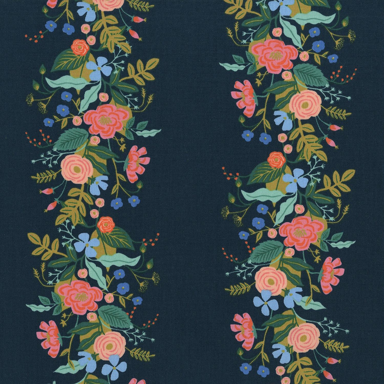 Ab8058 002 English Garden Floral Vines Dark Fabric Cotton
