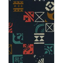 A4030-022 Clover - Plaza Tiles - Indigo Canvas Fabric