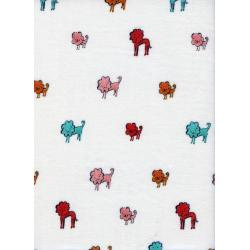 A4032-013 Clover - Dog Lions - Pink Double Gauze Fabric