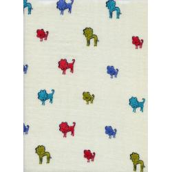 A4032-023 Clover - Dog Lions - Blue Double Gauze Fabric