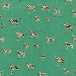 A4001-052 Hatbox - Tiger Stripes - Aqua Canvas Fabric