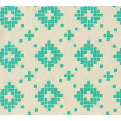 A4008-001 Mesa - Tile - Turquoise Unbleached Cotton Fabric