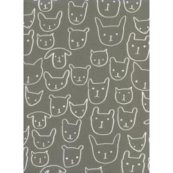 A4033-001 Print Shop - Hello - Grey Unbleached Cotton White Pigment Fabric