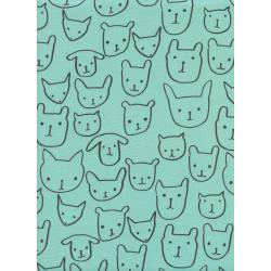 A4033-002 Print Shop - Hello - Seaglass Unbleached Cotton Fabric
