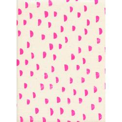 A4035-001 Print Shop - Moons - Pink Unbleached Cotton Neon Pigment Fabric