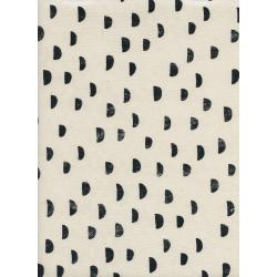 A4035-002 Print Shop - Moons - Black Unbleached Cotton Fabric
