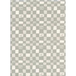 A4037-001 Print Shop - Grid - Grey Unbleached Cotton Fabric