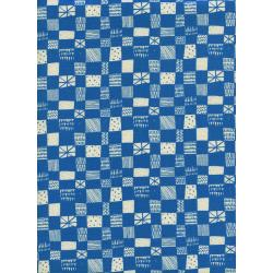 A4037-002 Print Shop - Grid - Blue Unbleached Cotton Fabric