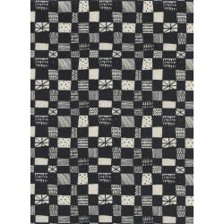 A4037-004 Print Shop - Grid - Dark Charcoal Unbleached Cotton Fabric