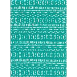 A4038-001 Print Shop - Stitch - Turquoise Unbleached Cotton Fabric