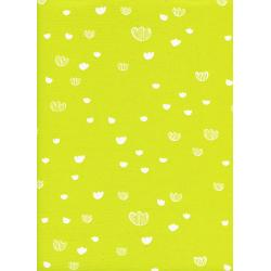 A4040-002 Print Shop - Meadow - Citrus Unbleached Cotton White Pigment Fabric