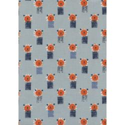 A4062-002 Sunshine - Lions - Blue Unbleached Cotton Fabric