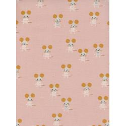 A4064-001 Sunshine - Little Friends - Pink Unbleached Cotton Fabric