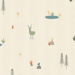 AE100-ST2U Dear Friends - Forest Cuties - Straw Unbleached Fabric