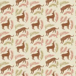AM100-SI3UM All Through the Land - Grassland - Sienna Unbleached Metallic Fabric