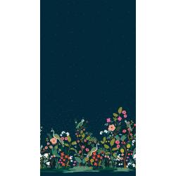 AB8057-001 English Garden - Growing Garden - Navy Metallic Fabric