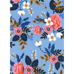 AB8008-015 Les Fleurs - Birch Floral - Periwinkle Rayon Fabric