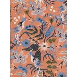 AB8010-022 Les Fleurs - Folk Birds - Peach Canvas Fabric