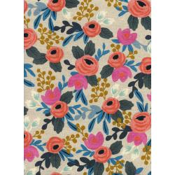 AB8012-012 Les Fleurs - Rosa Floral - Natural Canvas Fabric