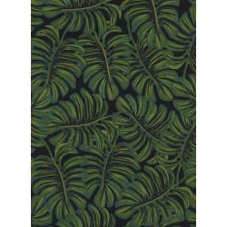 AB8038-016 Menagerie - Monstera - Midnight Rayon Lawn Fabric