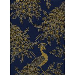 AB8042-012 Menagerie - Royal Peacock - Navy Canvas Metallic Fabric