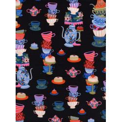 AB8018-001 Wonderland - Mad Tea Party - Black Fabric