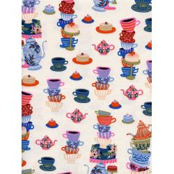 AB8018-002 Wonderland - Mad Tea Party - Neutral Unbleached Cotton Fabric