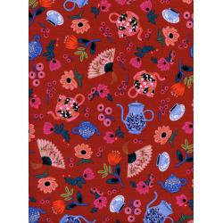AB8019-002 Wonderland - Garden Party - Crimson Fabric