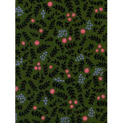 AB8020-002 Wonderland - Rose Garden - Moss Metallic Fabric
