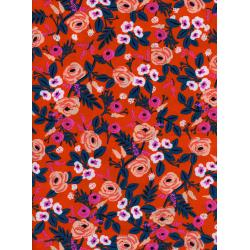 AB8024-015 Wonderland - Painted Roses - Orange Rayon Fabric