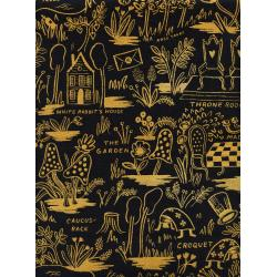 AB8027-032 Wonderland - Magic Forest - Charcoal Canvas Metallic Fabric