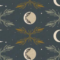 AC100-NA4UCM Camp Creek - Harvest Moon - Navy Unbleached Canvas Metallic Fabric