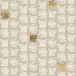 CF102-GY3UM Kibori - Paper Birds - Gray Unbleached Metallic Fabric
