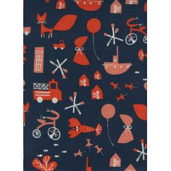 CB9003-001 Spectacle - Commotion - Navy Unbleached Cotton Fabric