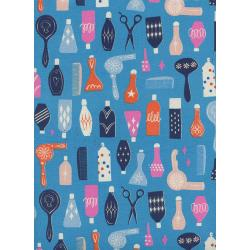 C6001-001 Beauty Shop - Parlour - Blue Unbleached Cotton Fabric