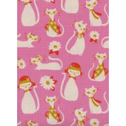 C6002-001 Beauty Shop - Fancy Cats - Pink Unbleached Cotton Fabric