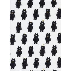 C5053-001 Black & White - Bear Hug - Black/White Metallic Fabric