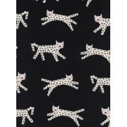 C5115-001 Black & White - Snow Leopard - Black Unbleached Cotton Neon Pigment Fabric