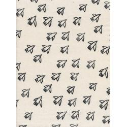 C5118-001 Black & White - Flight - Natural Unbleached Cotton Fabric