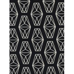 C5122-001 Black & White - Lantern - Black Unbleached Cotton Fabric