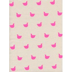 C5124-001 Black & White - Quackers - Neon Pink Unbleached Cotton Neon Pigment Fabric