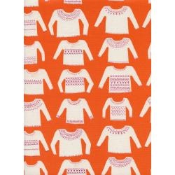 C5146-001 Cozy - My Favorite Sweater - Orange Unbleached Cotton Fabric