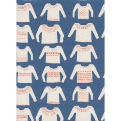 C5146-002 Cozy - My Favorite Sweater - Blue Unbleached Cotton Fabric
