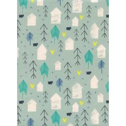C5147-002 Cozy - Neighbor - Mint Unbleached Cotton White Pigment Fabric
