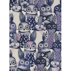 C5195-001 Eclipse - Wise Owls - Night Unbleached Cotton Fabric