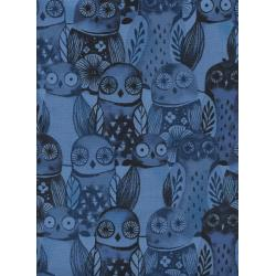 C5195-002 Eclipse - Wise Owls - Blue Fabric