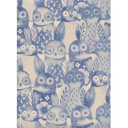 C5178-002 Firelight - Wise Owls - Lilac Unbleached Cotton Fabric