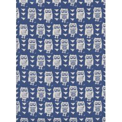 C5181-002 Firelight - Hooties - Blue Unbleached Cotton Fabric