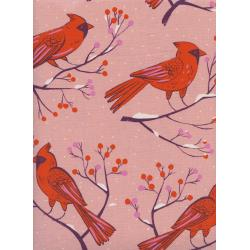 C5185-002 Frost - Winter Cardinals - Pink Unbleached Cotton Fabric