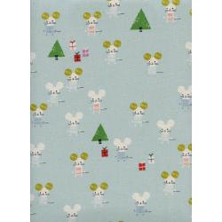 C5187-001 Frost - Little Friends - Aqua Unbleached Cotton Fabric